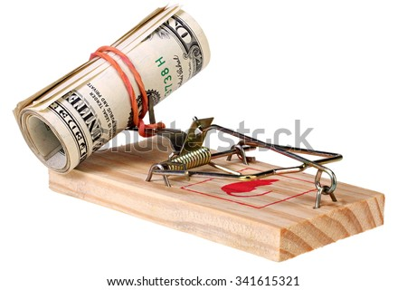 Roll of dollar banknotes in the mousetrap isolated on white with Clipping Path - stock photo
