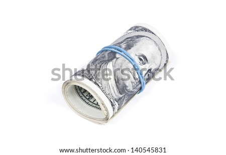 Roll of dollar banknotes isolated over white background - stock photo