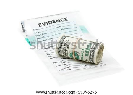 Roll of dollar bills on evidence bag - stock photo