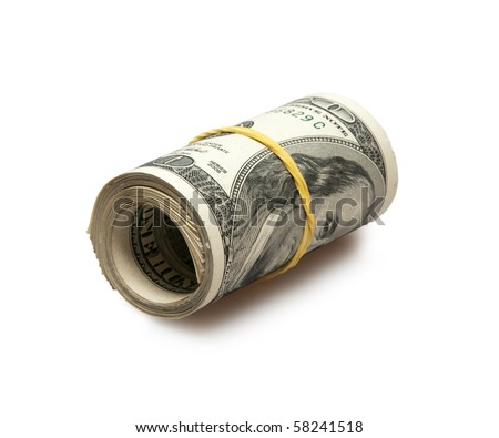 roll of dollars isolated on white - stock photo