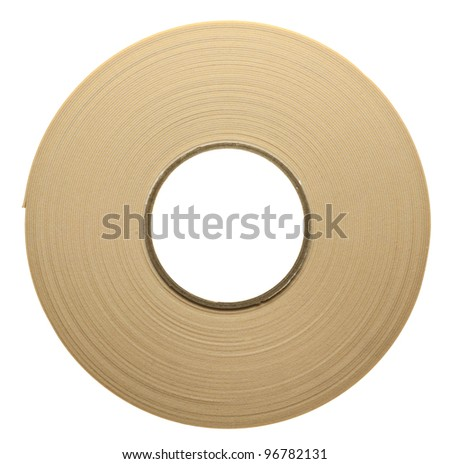 Roll of duplex adhesive tape, isolated - stock photo