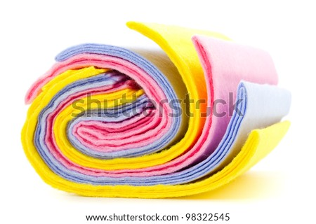 roll of dusters on white background - stock photo