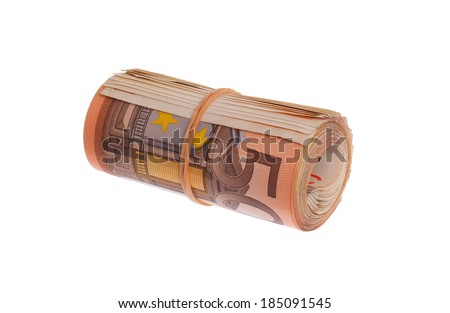 Roll of 50 euro bills, isolated on white