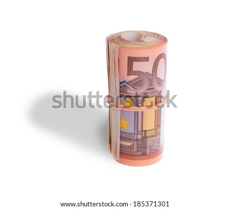 Roll of 50 euro bills, isolated on white - stock photo