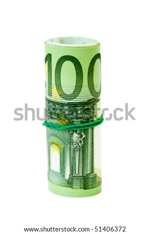 Roll of 100 Euro notes with an elastic band wrapped around. - stock photo