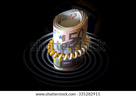 Roll of euros - stock photo
