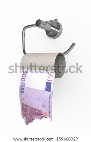 Roll of 500 Euros bills on a toilet  paper spindle  - stock photo