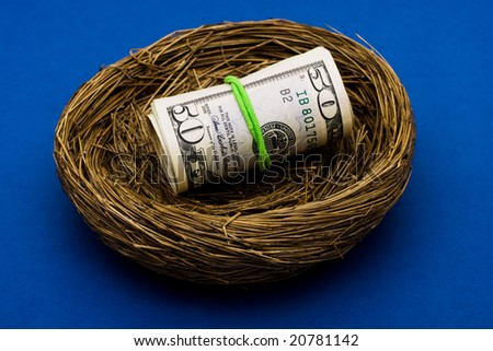 Roll of fifty dollar bills sitting in nest on blue background, nest egg