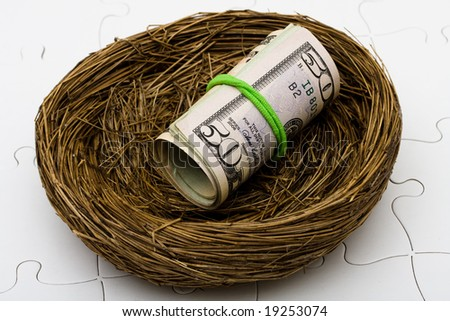 Roll of fifty dollars bills sitting in nest on a puzzle background, safe retirement savings