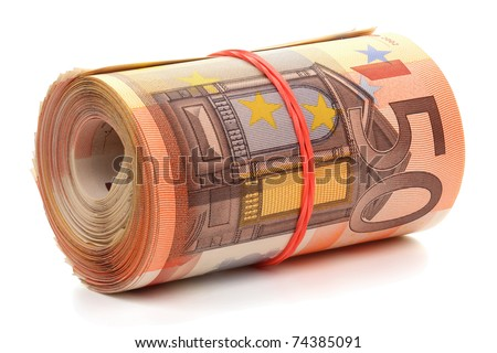Roll of fifty euro banknotes with a rubber band, isolated on the white background, clipping path included. Full focus. - stock photo