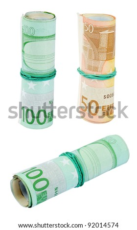 Roll of fifty euro paper bills and one hundred euro banknotes with a rubber band, isolated on the white background. - stock photo
