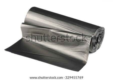 Roll of Garbage Bags Isolated on White Background - stock photo