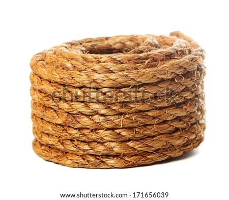 Roll of hemp rope on pure white background - stock photo