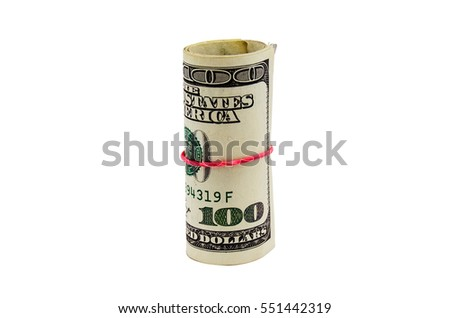 Roll of hundred dollar bill on isolated white background