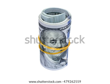 Roll of hundred dollar bills tied with rubber band  isolated on white background