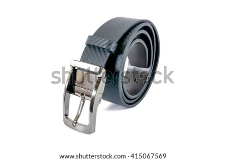 Roll of leather men belt isolated on white background - stock photo