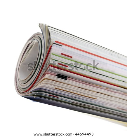 Roll of magazine isolated on white background