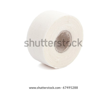 Roll of medical sticking plaster isolated on white