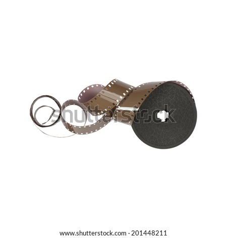 roll of 16 mm movie film strip isolated on white background - stock photo