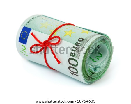 Roll of money and bow isolated on white background