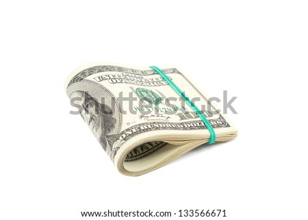 Roll of money isolated on white background. One hundred dollar bills related gum.