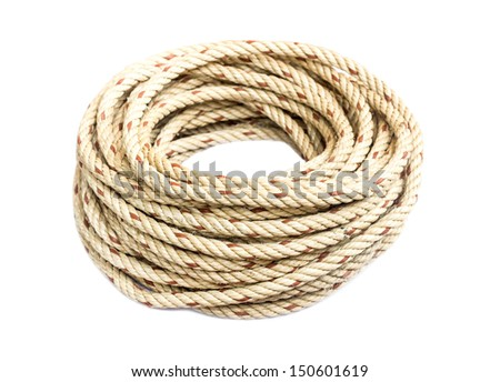 roll of nautical rope on white - stock photo