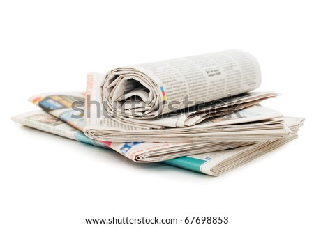 Roll of newspapers, isolated on white background - stock photo