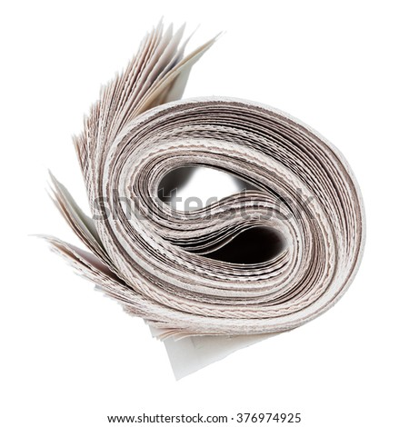 Roll of newspapers. Isolated on white. News and updates concept. - stock photo