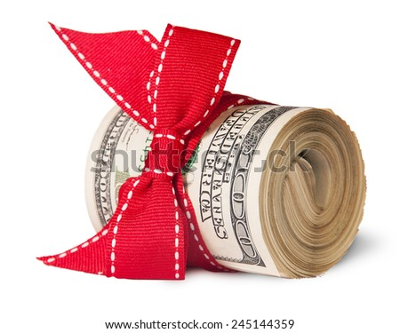 Roll Of One Hundred Dollar Bills Tied With Red Ribbon Isolated On White Background - stock photo