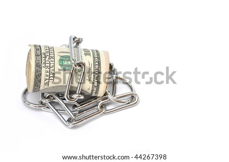 Roll of one hundred dollar bills wrapped in silver chain