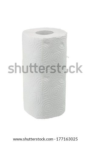 Roll of paper towel isolated on white background - stock photo