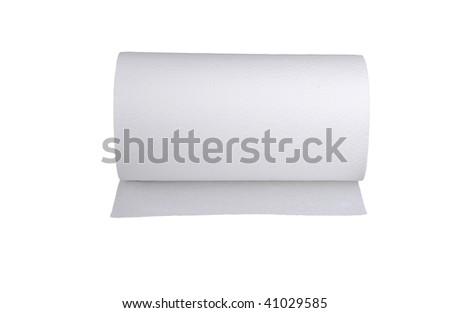 Roll of paper towels isolated on white - stock photo