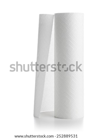 Roll of paper towels over white background - stock photo