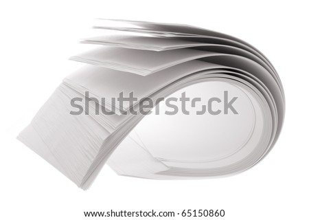 Roll of Papers on White Background
