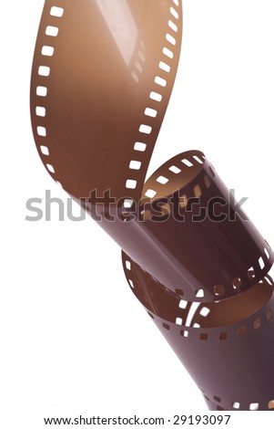roll of photographic film on white background
