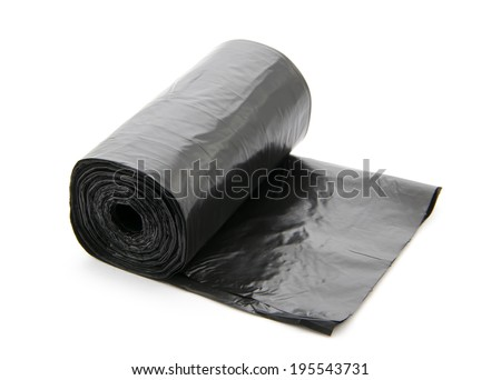 roll of plastic garbage bags isolated on white background - stock photo