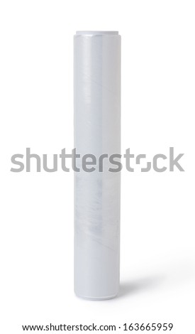 roll of plastic stretch film - stock photo