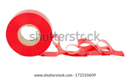 Roll of red insulating tape - stock photo