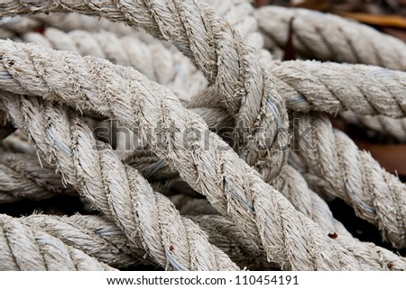 roll of rope isolated on white - stock photo