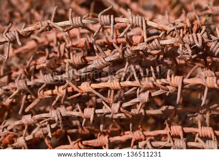 roll of rusty barbed wire - stock photo