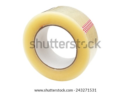 Roll of Scotch tape. Isolated on white background. - stock photo