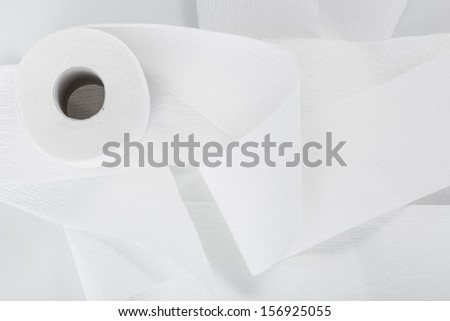 roll of toilet paper isolated on a white background - stock photo