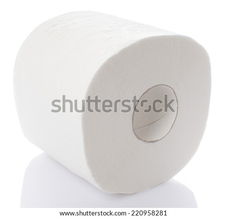 Roll of toilet paper, isolated on white