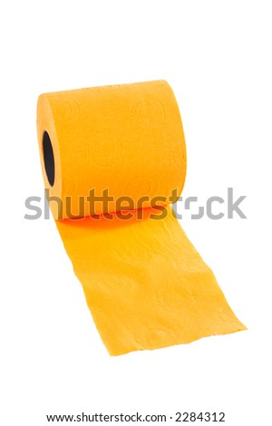 Roll of toilet paper on a white background - stock photo