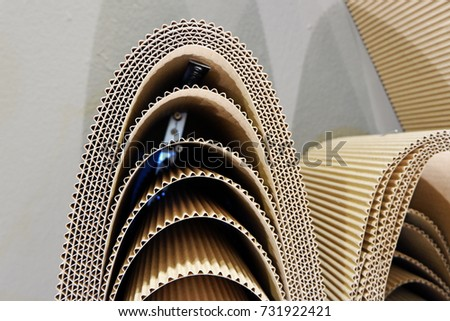 Roll Wavy Craft Paper Folded Random Stock Photo Royalty Free