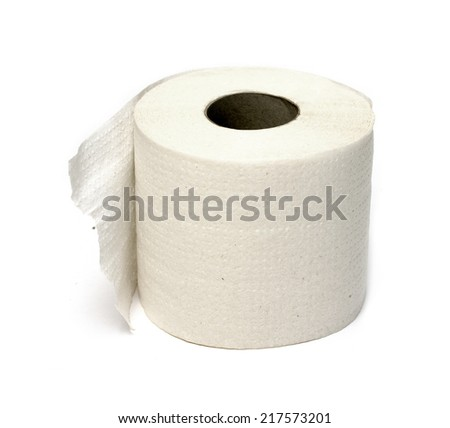 roll of white toilet paper - stock photo
