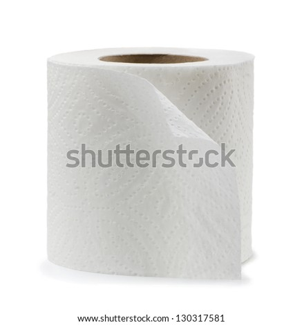 Roll of white toilet paper isolated on white - stock photo