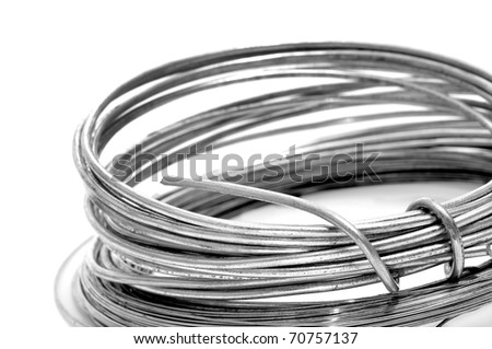 roll of wire on a white background - stock photo