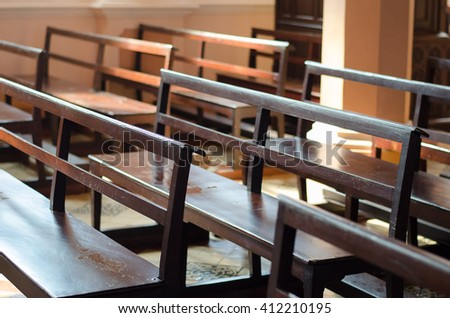 Roll of wooden benches - stock photo