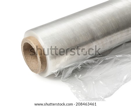 Roll of wrapping plastic stretch film. Close-up. Isolated on white background. With clipping path - stock photo
